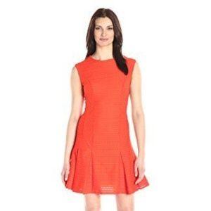 Donna Morgan Textured Orange Drop Waist Dress